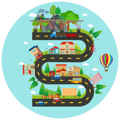 Infographic winding road and buildings
