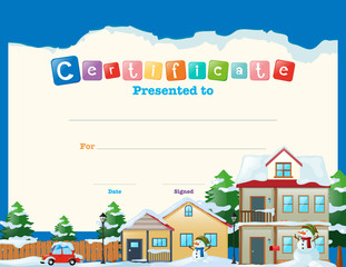 Certificate template with houses in winter background