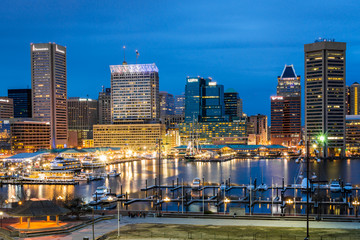 Waterfront of Skyline from Federal Hill Baltimore, Maryland look