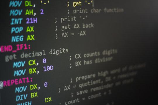 Programming code, Computer screen Programming code abstract screen of software developer. Computer Language. assembly