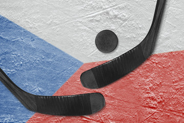 Czech flag and two hockey sticks hockey
