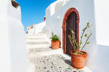 White architecture in Santorini island, Greece.