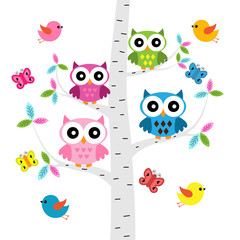 Vector set of a colorful owls, birds and butterflies at the tree