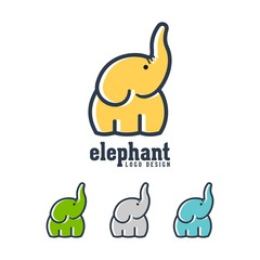 Simple Modern Abstract Elephant Vector Logo Design Outline