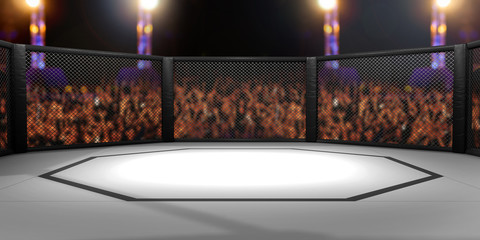 Aluminium Prints Martial arts 3D Rendered Illustration of an MMA, mixed martial arts, fighting cage arena.