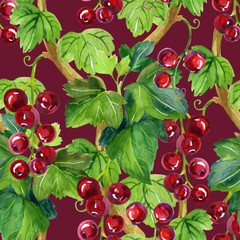 Watercolor red currants seamless pattern