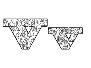 Anti coloring book alphabet, the letter V vector illustration