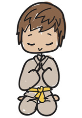 Doodle style cartoon young karateka with yellow belt kneeling to greet before or after his lesson
