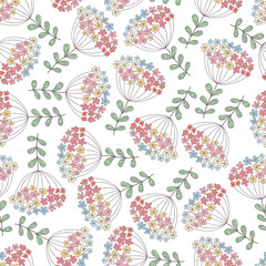 Vector seamless pattern with leaves and flowers. Floral cute abstract doodle print.