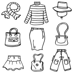 Doodle of women clothes object hand draw