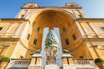 Roman fountain (Fontana della Pigna) in internal garden yard of Vatican, Rome, Italy.