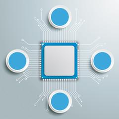 Futuristic Processor Circuit Board Circles Infographic