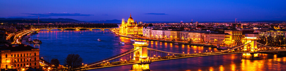 Budapest, Hungary. Chain bridge and Parliament building