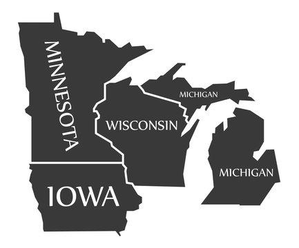 Minnesota - Iowa - Wisconsin - Michigan Map labelled black