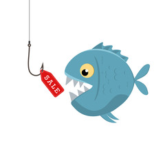 Label sales on a fishing hook. Bait fish