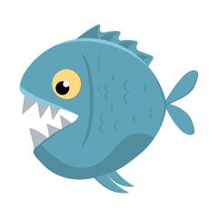 Cute cartoon piranha with sharp teeth