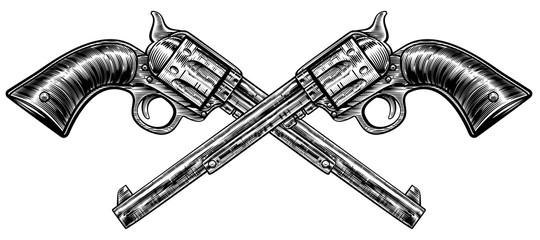 Crossed Pistol Guns