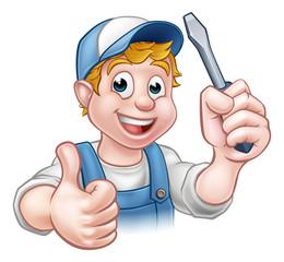 Electrician Handyman Cartoon Character
