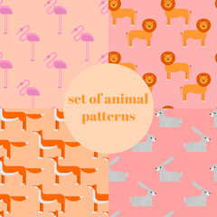 Wildlife zoo collection of cute cartoon animals. Big fauna of the world icon set isolated. Wild characters