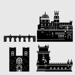 Travel landmark Portugal elements. Flat architecture and building icons