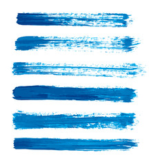 blue vector strokes of paint on white background