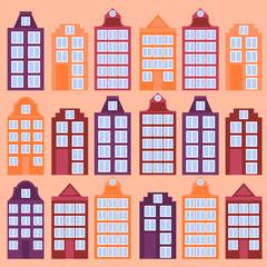 Amsterdam city flat line art. Travel landmark, architecture of netherlands, Holland houses, european building isolated set
