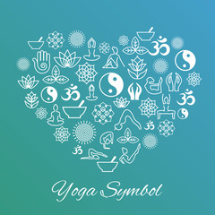 Yoga heart sign. I love vector label