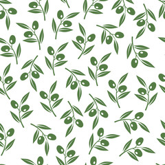 Olive tree branches texture. Vector olives seamless background for oil package