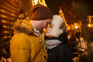 Winter walk in love couple