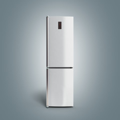 Stainless steel modern refrigerator on grey gradient 3d illustra