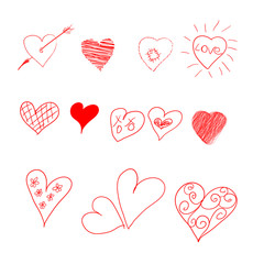 Hand drawn set of hearts. Vector illustration for Valentine's day. Elements for design, web