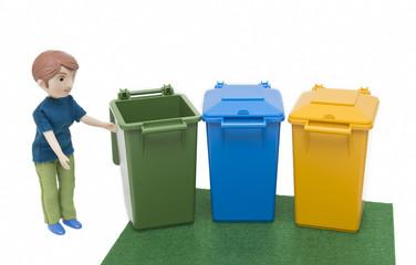 Miniature Man Putting Out Garbage