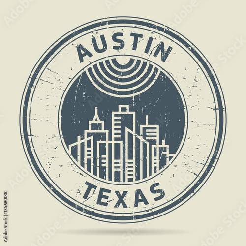 Grunge Rubber Stamp Or Label With Text Austin Texas Stock Image