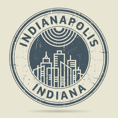 Grunge rubber stamp or label with text Indianapolis, Indiana