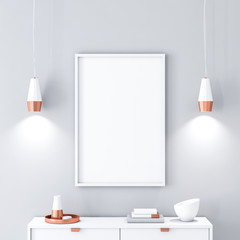 White poster Frame hanging on the wall. 3d rendering
