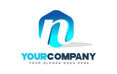 n Letter Logo. Hexagon Shape Modern Design
