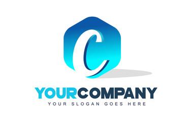 c Letter Logo. Hexagon Shape Modern Design