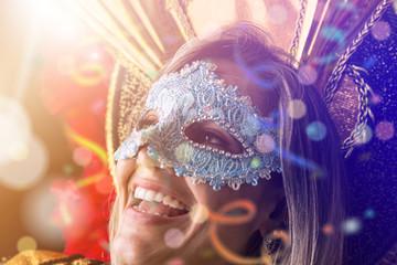 Blonde Brazilian woman wearing carnival costume