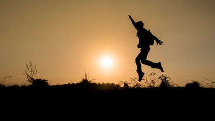 happy time on silhouette sunset
