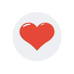 red heart valentine day flat icon. Vector illustration