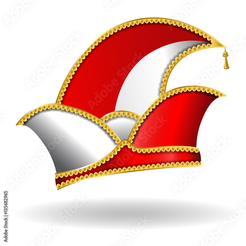"""karneval narrenkappe  rotweiß"" stock image and royalty"