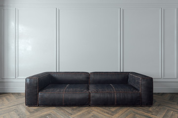 Leather sofa in the room isolated