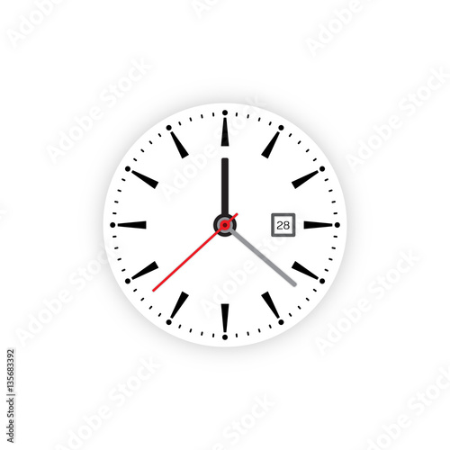 Vector Image Of Minimalistic Clock Dial White With Black
