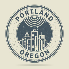 Grunge rubber stamp or label with text Portland, Oregon