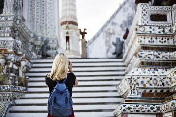 Woman Caucasian Traveler Tour Temple Camera Concept