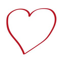 Handgezeichnetes Herz in rot
