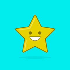 Vector star icon with smile on cyan background. Modern flat illustration.