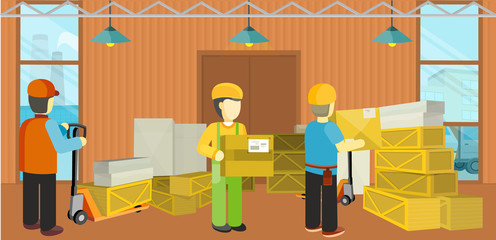 Equipment Delivery Process of Warehouse. Unloading