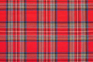 Red tartan scottish fabric texture background