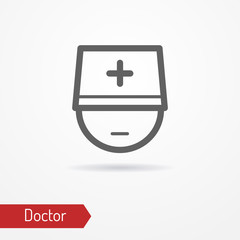 Typical simplistic doctor face in professional hat with cross. Medic or surgeon head isolated minimalistic icon in line style with shadow. Profession and healthcare vector stock image.